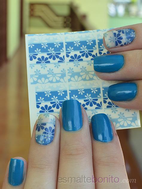 Cartela de Adesivos Florzinha Degradê Azul