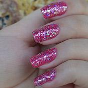 Esmalte Rosa com Glitter Rosa