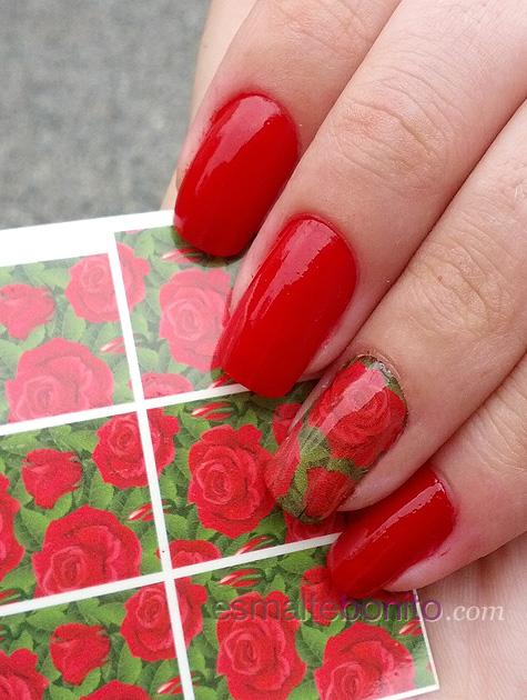 Adesivo para unhas de Rosas Vermelhas