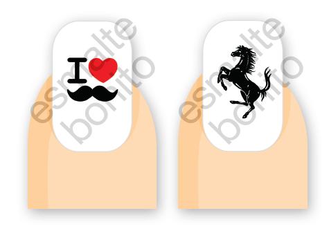 Adesivo de Unha I Love Moustache e Cavalinho da Ferrari