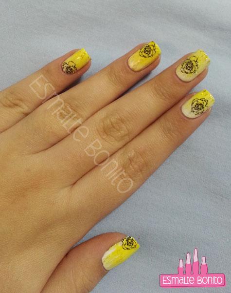 Gradiente Amarelo + Adesivo de Rosa Preta