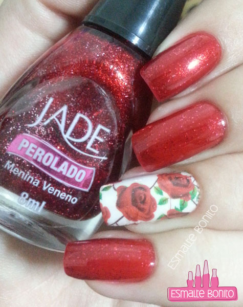 Adesivo de Rosas Vermelhas com Folhas