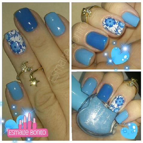 Adesivo de Unha Floral Azul + Esmalte Miss Rôse