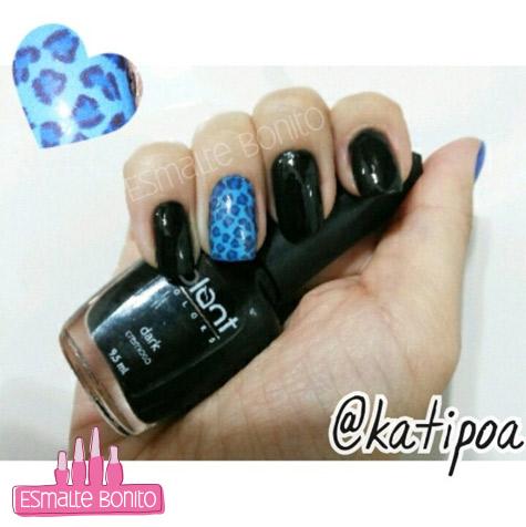 Adesivo de Unha Oncinha Azul + Esmalte Dark Blant Colors