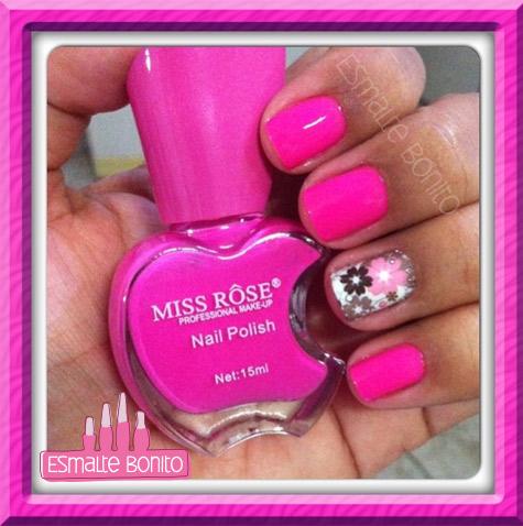 Adesivo de Unha Floral Rosa e Marrom + Esmalte Miss Rôse