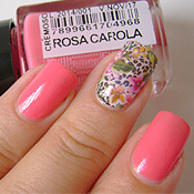 Rosa Carola Preta Gil + Adesivo de Unha Floral com Oncinha