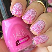 Degradê rosa com esmaltes Jade + Carimbada