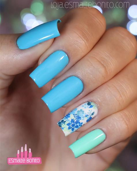 Adesivo de Unha Floral Azul