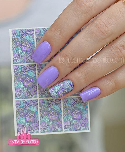 Adesivo de Unha Floral Roxo e Azul