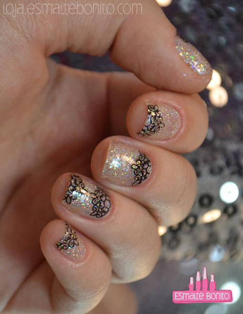Unhas Carimbadas com Placa 046 Sugar Bubbles