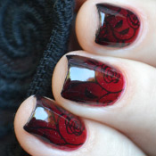 Ombré Preto e Vermelho + Carimbada Floral