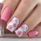 Esmalte Rose Quartz Whatcha + Adesivo de Unha Floral Rosa e Roxo